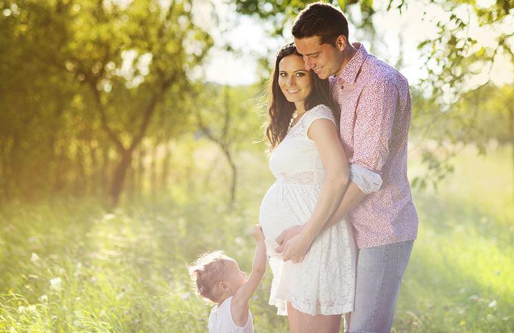 Ragazza incinta con la famiglia